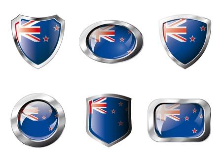bandera de nueva zelanda: Nueva Zelanda Configurar botones brillante y escudos de bandera con armaz�n de metal - ilustraci�n. Objeto abstracto aislado sobre fondo blanco. Foto de archivo