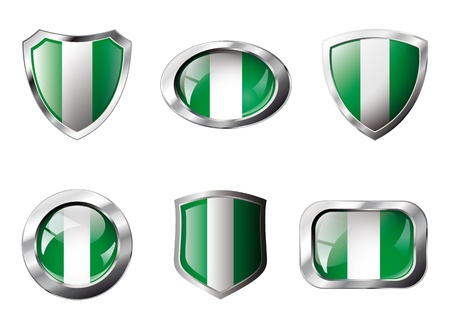 Nigeria set shiny buttons and shields of flag with metal frame - illustration. Isolated abstract object against white background. Stock Illustration - 8787327