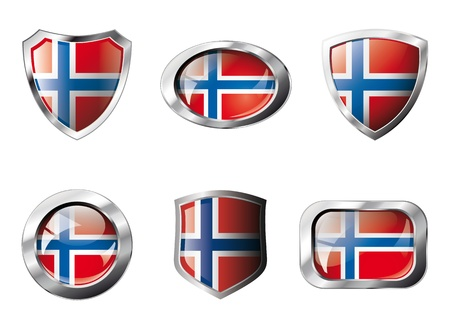 Norway set shiny buttons and shields of flag with metal frame - illustration. Isolated abstract object against white background. Stock Illustration - 8788290