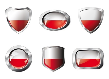 Poland set shiny buttons and shields of flag with metal frame. Isolated abstract object against white background. Stock Photo - 8787319