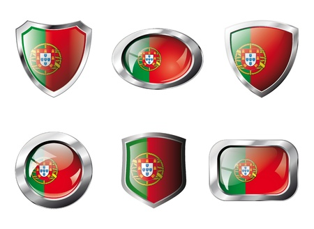 Portugal set shiny buttons and shields of flag with metal frame - illustration. Isolated abstract object against white background. Stock Illustration - 8789343