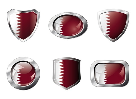 Qatar set shiny buttons and shields of flag with metal frame - illustration. Isolated abstract object against white background. illustration
