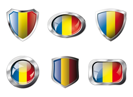 Romania set shiny buttons and shields of flag with metal frame - illustration. Isolated abstract object against white background. illustration