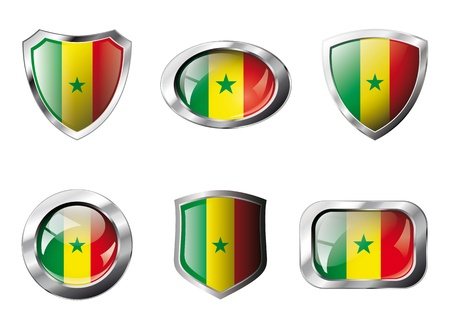 Senegal set shiny buttons and shields of flag with metal frame - illustration. Isolated abstract object against white background. Stock Illustration - 8788287