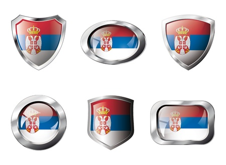 Serbia set shiny buttons and shields of flag with metal frame - illustration. Isolated abstract object against white background. illustration