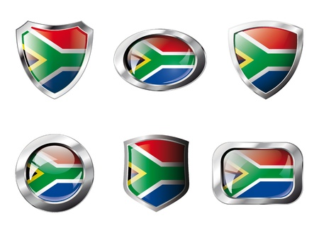 South africa set shiny buttons and shields of flag with metal frame - illustration. Isolated abstract object against white background. illustration