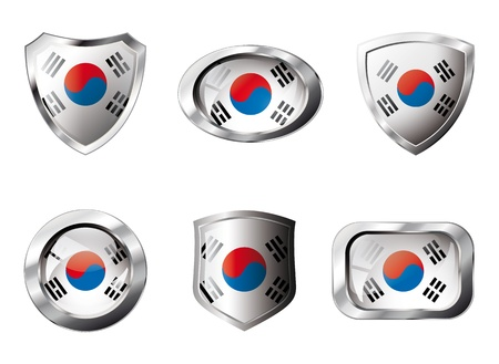 South korea set shiny buttons and shields of flag with metal frame - illustration. Isolated abstract object against white background. illustration