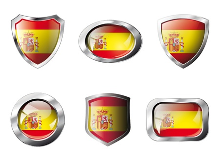 Spain set shiny buttons and shields of flag with metal frame - illustration. Isolated abstract object against white background. illustration