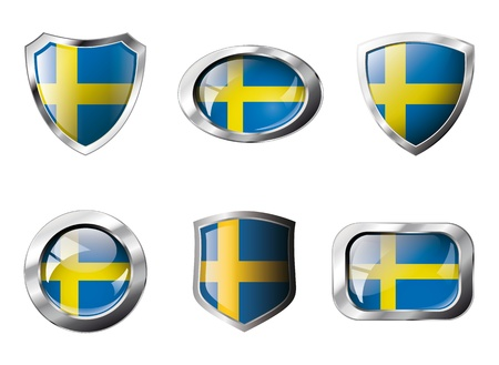 Sweden set shiny buttons and shields of flag with metal frame - illustration. Isolated abstract object against white background. illustration