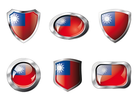 Taiwan set shiny buttons and shields of flag with metal frame - illustration. Isolated abstract object against white background. illustration
