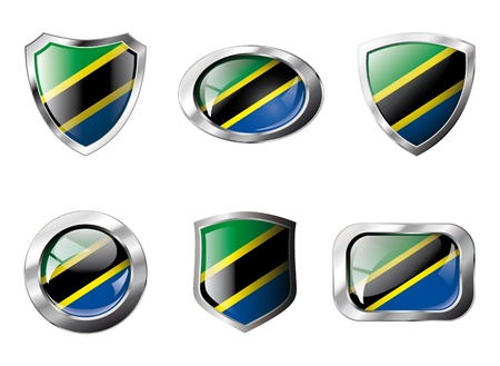 Tanzania set shiny buttons and shields of flag with metal frame - illustration. Isolated abstract object against white background. illustration