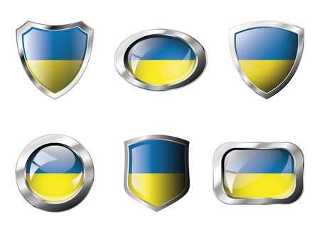 ukraine flag: Ukraine set shiny buttons and shields of flag with metal frame - illustration. Isolated abstract object against white background.