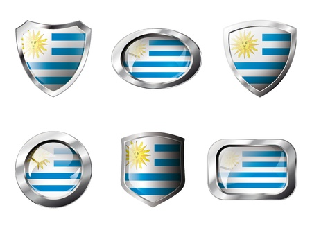 Uruguay set shiny buttons and shields of flag with metal frame - illustration. Isolated abstract object against white background. illustration