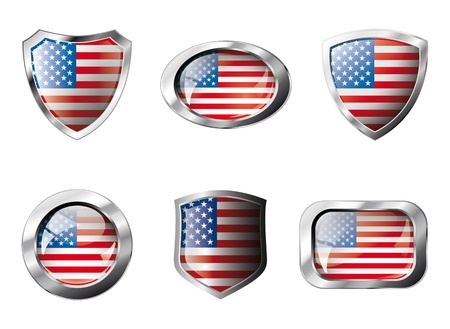 USA America set shiny buttons and shields of flag with metal frame - illustration. Isolated abstract object against white background. illustration