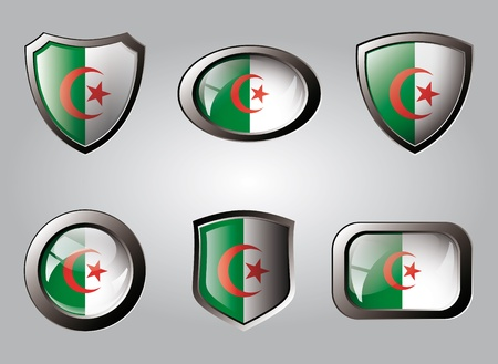 Algeria set shiny buttons and shields of flag with metal frame - vector illustration. Isolated abstract object. illustration