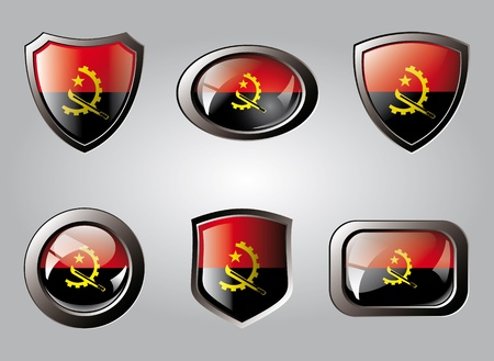Angola set shiny buttons and shields of flag with metal frame - vector illustration. Isolated abstract object. illustration