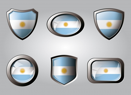 Argentina set shiny buttons and shields of flag with metal frame - vector illustration. Isolated abstract object. illustration
