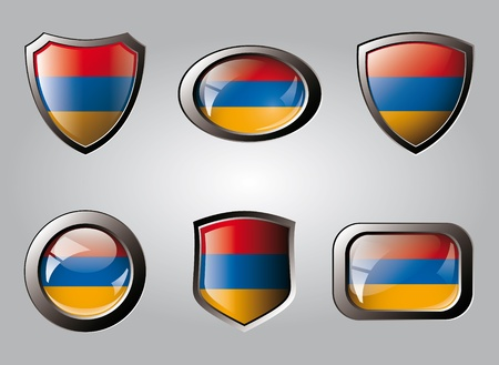 Armenia set shiny buttons and shields of flag with metal frame - vector illustration. Isolated abstract object. illustration