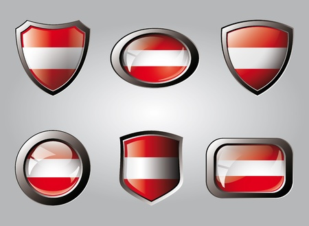Austria set shiny buttons and shields of flag with metal frame - vector illustration. Isolated abstract object. illustration