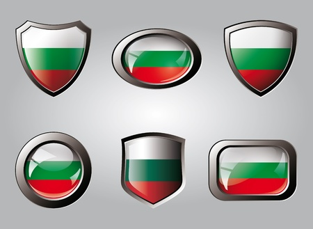 Bulgaria set shiny buttons and shields of flag with metal frame - vector illustration. Isolated abstract object. illustration