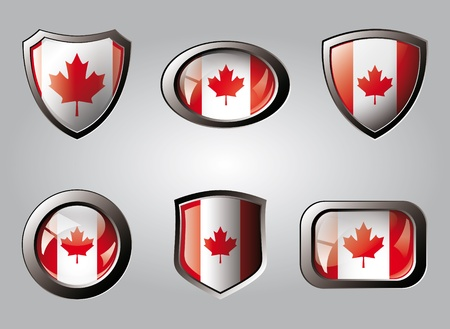 Canada set shiny buttons and shields of flag with metal frame - vector illustration. Isolated abstract object. illustration