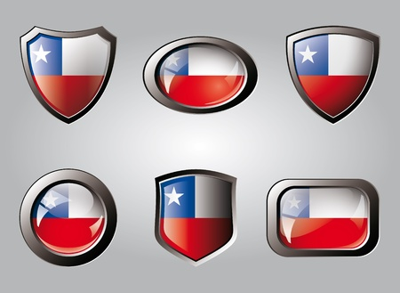 Chile set shiny buttons and shields of flag with metal frame - vector illustration. Isolated abstract object. illustration