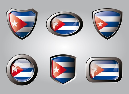 Cuba set shiny buttons and shields of flag with metal frame - vector illustration. Isolated abstract object. illustration