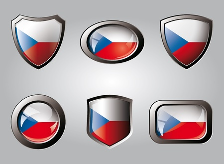 Czech set shiny buttons and shields of flag with metal frame - vector illustration. Isolated abstract object. illustration