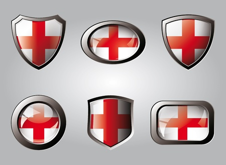 England set shiny buttons and shields of flag with metal frame - vector illustration. Isolated abstract object. illustration