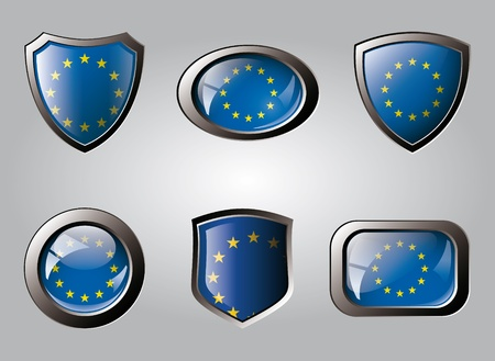 Europe union set shiny buttons and shields of flag with metal frame - vector illustration. Isolated abstract object. illustration