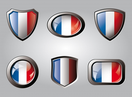 France set shiny buttons and shields of flag with metal frame - vector illustration. Isolated abstract object. illustration