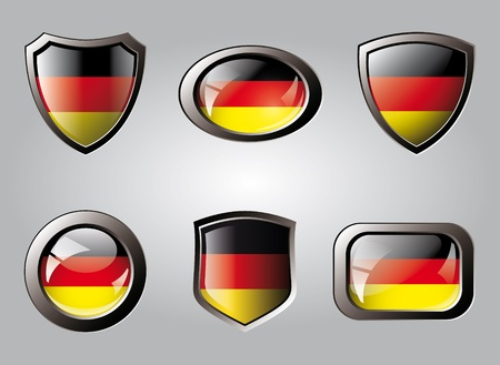 Germany set shiny buttons and shields of flag with metal frame - vector illustration. Isolated abstract object. illustration