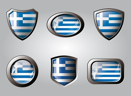 Greece set shiny buttons and shields of flag with metal frame - vector illustration. Isolated abstract object. illustration