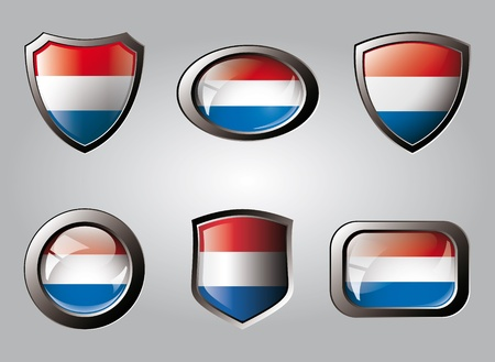 Holland set shiny buttons and shields of flag with metal frame - vector illustration. Isolated abstract object. illustration