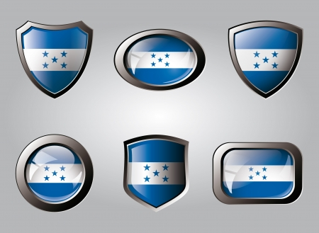 Honduras set shiny buttons and shields of flag with metal frame - vector illustration. Isolated abstract object. illustration