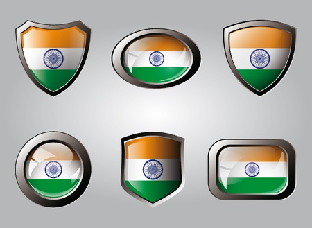 India set shiny buttons and shields of flag with metal frame - vector illustration. Isolated abstract object. illustration