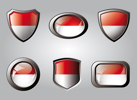 Indonesia set shiny buttons and shields of flag with metal frame - vector illustration. Isolated abstract object. Stock Illustration - 9461761