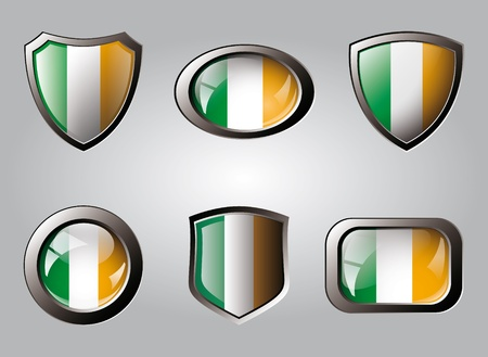 Ireland set shiny buttons and shields of flag with metal frame - vector illustration. Isolated abstract object. Stock Illustration - 9461772