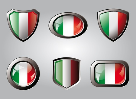 Italy set shiny buttons and shields of flag with metal frame - vector illustration. Isolated abstract object. Stock Illustration - 9461774