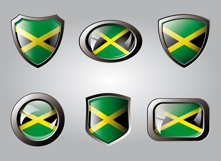 Jamaica set shiny buttons and shields of flag with metal frame - vector illustration. Isolated abstract object. illustration