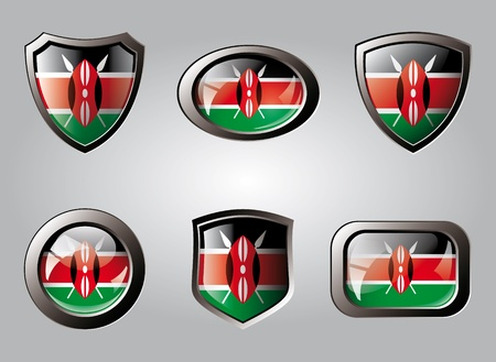 Kenya set shiny buttons and shields of flag with metal frame - vector illustration. Isolated abstract object. illustration