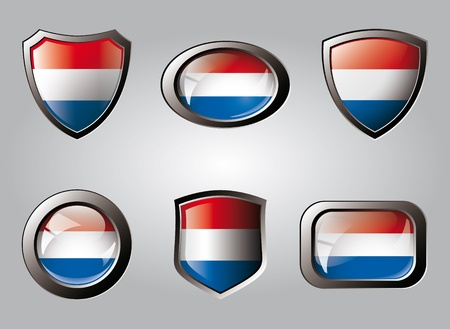 Netherlands set shiny buttons and shields of flag with metal frame - vector illustration. Isolated abstract object. illustration