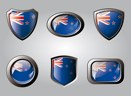 New zealand set shiny buttons and shields of flag with metal frame - vector illustration. Isolated abstract object. illustration