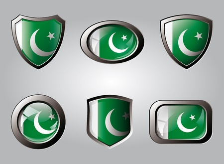 Pakistan set shiny buttons and shields of flag with metal frame - vector illustration. Isolated abstract object. illustration