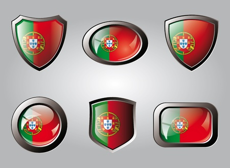 Portugal set shiny buttons and shields of flag with metal frame - vector illustration. Isolated abstract object. illustration
