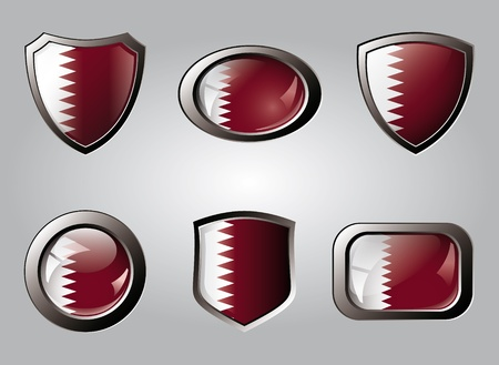 Qatar set shiny buttons and shields of flag with metal frame - vector illustration. Isolated abstract object. Stock Illustration - 9461777
