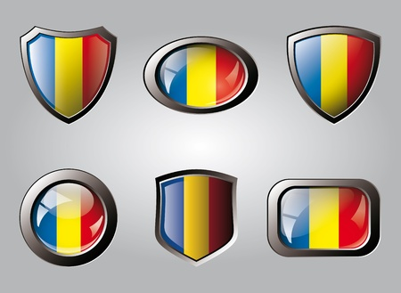 Romania set shiny buttons and shields of flag with metal frame - vector illustration. Isolated abstract object. illustration
