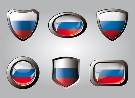 Russia set shiny buttons and shields of flag with metal frame - vector illustration. Isolated abstract object. Stock Illustration - 9461770