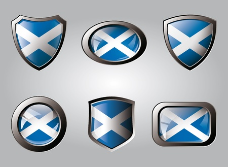 Scotland set shiny buttons and shields of flag with metal frame - vector illustration. Isolated abstract object. illustration