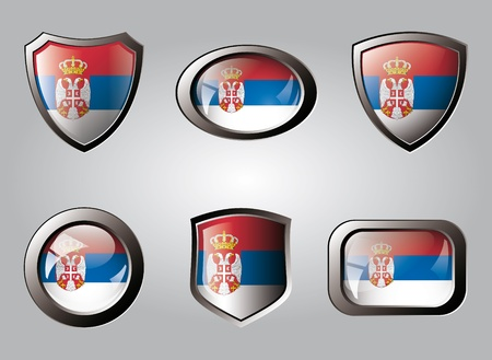 Serbia set shiny buttons and shields of flag with metal frame - vector illustration. Isolated abstract object. illustration